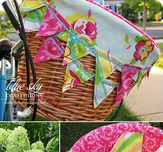 Bicycle Basket Liner I recently had an Etsy shopper purchase this basket liner design from my shop but requested something with the colo...