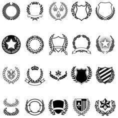 Graphic design vintage book cover: cover by Per Åhlin Vector Crests (FREE) by Ray Dombroski , via Behance Shield Vector, School Logo, Badge Design, Crests, Coat Of Arms, Logo Design Inspiration, Design Tutorials, Design Elements, Vector Free