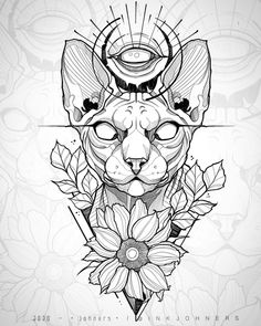 Egyptian Cat Tattoos, Egyptian Drawings, Tattoo Design Drawings, Tattoo Sketches, Tattoo Designs, Blackwork, Chat Sphynx, African Tattoo, Egypt Tattoo