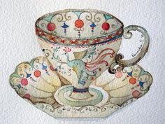 04-08-11 Tea Cup #4 (Watercolor : 10x13cm.) by Bua S, via Flickr