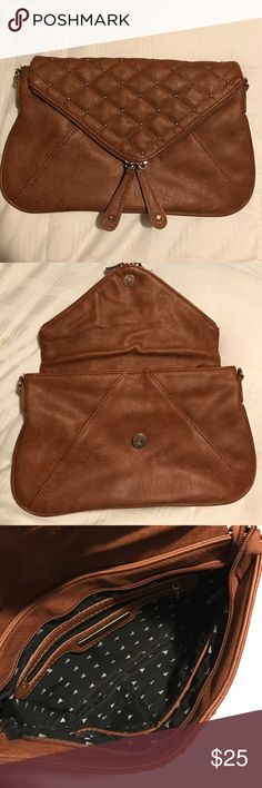 Street Level Envelope Clutch Brown Gold Studded Envelope Clutch - Lightly Used Francesca's Collections Bags Clutches & Wristlets