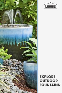 Find the perfect fountain at Lowe's to turn your backyard or front lawn into a serene oasis. Tap the Pin now to explore. Find your lawn equipment, landscaping supply & gardening needs at Lowe's. Garden Yard Ideas, Lawn And Garden, Garden Projects, Garden Art, Garden Design, Landscaping Supplies, Front Yard Landscaping, Landscaping Software, Garden Fountains
