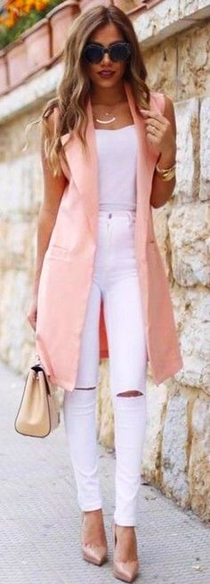 #fall #trending #outfits | Peach Long Vest + All White