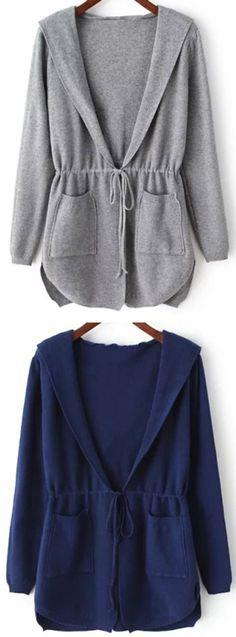 Grey Hooded Long Sleeve Pockets Cardigan