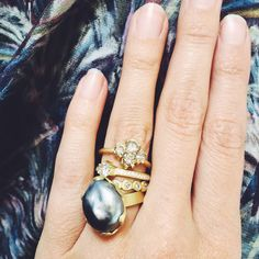 Diamond Quad Cluster, Tahitian Pearl Engagement Rings and stackable diamond wedding bands