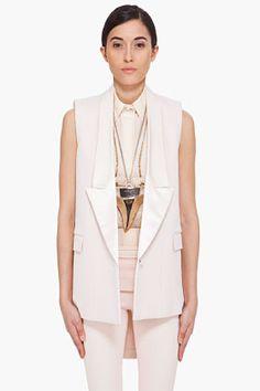 GIVENCHY Pale Peach Silk Trim Vest