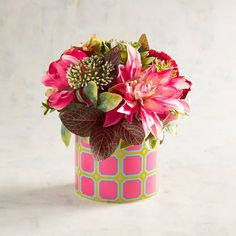 Pier 1 Imports Faux Floral Arrangement In Pink & Blue Geometric... ($35) ❤ liked on Polyvore featuring home, home decor, floral decor, artificial flower arrangement, faux flowers, artificial silk flowers, silk flowers and fake flower bouquets