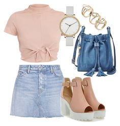 """Outfit with jean skiry"" by sthrcho on Polyvore featuring GRLFRND, FOSSIL and Skagen"