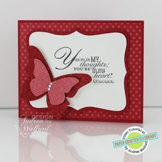 """""""You're In My Thoughts"""" Card Featuring Stampin' Up!'s Word Play Stamp Set - beautiful butterflies dies - bjl"""