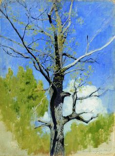 Isaac Levitan (Russian, 1860-1900) The Trunk of a Blossoming Oak (etude), 1883-1884 Oil on cardboard