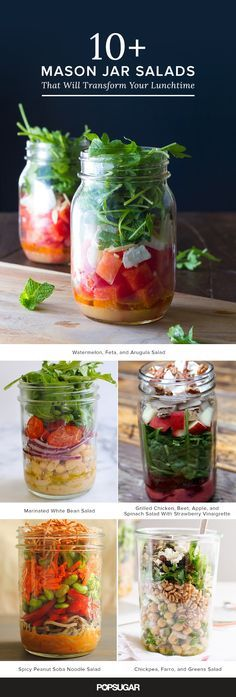 15 ways to never pack a boring salad again with these mason jar salad recipes! The post 15 Mason Jar Salads That Will Transform Your Lunchtime appeared first on Food Monster. Mason Jar Lunch, Mason Jar Meals, Meals In A Jar, Mason Jars, Mason Jar Recipes, Salad In A Jar, Soup And Salad, Clean Eating, Health And Fitness