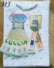 my little japanese world: folding banknotes - DIY wedding card with newlyweds . my little japanese world: Folding banknotes - DIY wedding card with newlyweds made of money STEP-BY-STEP INSTRUCTIONS an. Diy Wedding Veil, Wedding Cards, Wedding Gifts, Diy Gifts Paper, Newlyweds, Valentine Gifts, Diy And Crafts, How To Make Money, Presents