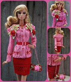Barbie Knitting Patterns, Knitting Dolls Clothes, Crochet Barbie Clothes, Barbie Patterns, Doll Clothes Patterns, Clothing Patterns, Barbie Miniatures, Poppy Parker, Barbie Accessories