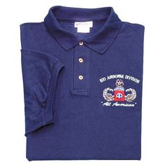 Military 82nd Airborne Wing Polo Shirt White