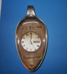 Repurposed Silver Plate Spoon Its Five O'Clock Somewhere with Resin and Steampunk Watch Face  ~Etsy Shope SilverSpoonin