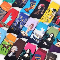 Hot Starry Night Autumn Winter Retro Women Personality Art Van Gogh Mural World Famous Painting Male Socks Oil Funny Happy Socks art; Art Van, Happy Socks, World Famous Paintings, Famous Art, Kalter Winter, Autumn Winter Fashion, Fall Winter, Casual Winter, Arte Van Gogh
