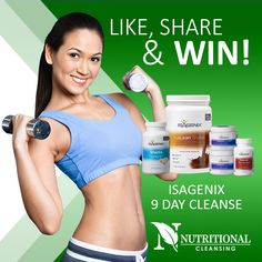 Like our facebook page, Share it onto your wall, Go into the Draw to win 9 Day Cleanse #Isagenix #Weightloss #NutrionalCleansing