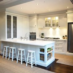 Like the end of bench. This French Provincial Kitchen is divine! Especially love the white palate. it adds a fresh and bright feel to the kitchen. Kitchen Inspirations, Condo Kitchen, Kitchen Style, Apartment Kitchen, French Provincial Kitchen, Home Kitchens, Kitchen Design, Kitchen Remodel, Kitchen Renovation