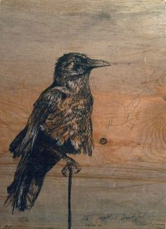 bird drawing on reclaimed wood art from etsy