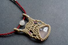FREE SHIPPING, Macrame necklace, rose quartz necklace, macrame, macrame jewelry, bohemian jewelry, necklaces, macrame art, macrame stone