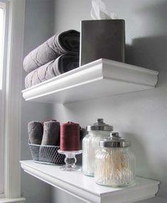 43 Best Ideas For Bath Room Shelves Over Toilet Creative Shelf Ideas White Bathroom Shelves, Bathroom Shelves Over Toilet, Bathroom Shelf Decor, White Shelves, Small Bathroom, Floating Shelves, Bathroom Ideas, Bathroom Canvas, Floating Wall