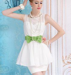 White chiffon mosaic green bow sleeveless dress with a skirt Slim_Cute dresses_Dresses_Mili fashion Trade Co.Ltd