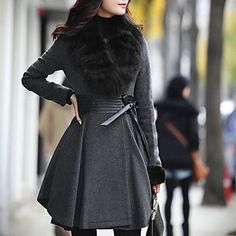 Zeagoo Women's Elegant Fur Collar Fitted Coat – AUD $ 63.35