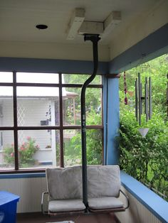 Chairlift Porch Swings Ski Lift Chair, Porch Swings, Backyard Patio, Patio Ideas, Apartment Ideas, Camping, Windows, Live, Garden