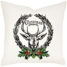 Deer Wreath Pillow