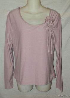 Women's ODILLE by ANTHROPOLOGIE TOP L Large Pink Lilac CORSAGE Scoop Round Neck