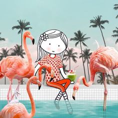 Sunny days are here again 🍹 #flamingo #poolparty #coconut #cocktails #sunnydaysarehereagain #aflamingoaday #tgif #drawing #sketching #video #gif #gifart #photoshop #illustration #instavideo #collage #15seconds #animation