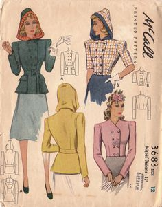 McCall 3683: Misses' jackets late 30s early 40s hooded pink yellow blue black double breasted color illustration print ad sewing pattern