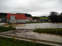 13.09.2014: Die Raab bei Hofstätten. Randvoll.