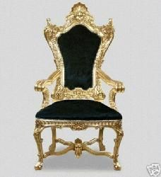 The king throne chair in red velvet with gold wood finish for Throne chair plans
