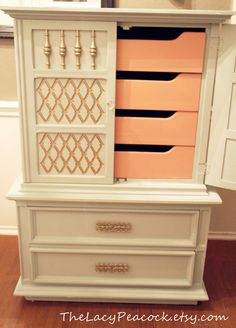 Seafoam and Coral Dresser with gold accents