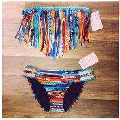 Love this aztec fringe bikini!