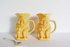 Vintage Toby Jugs Two Yellow USA Pottery Toby by Vintassentials