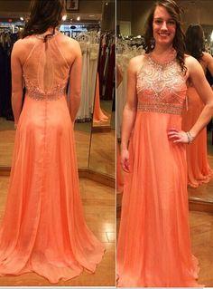 Beautiful O Neck Prom Dresses Beaded A Line
