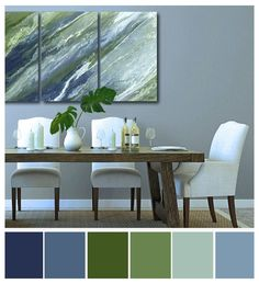 Blue And Green Living Room, Green Dining Room, Green Rooms, Bedroom Green, Bedroom Office, Dining Rooms, Living Room Color Schemes, Living Room Colors, Living Room Decor
