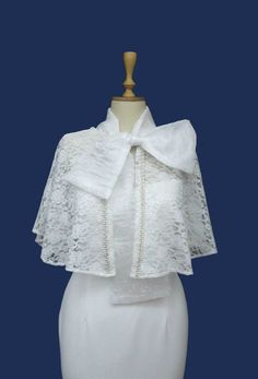 Ivory Lace Bridal Cape Shawl Shrug Spring Summer Cover up
