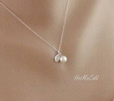 Silver Monogram Pendant Necklace, Pearl Initial leaf Necklace, Charm Jewelry, Child, Simple Bridesmaid necklace, Flower girl Gift