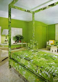 My bedroom as a kid was this color.  1970 bedroom design from House & Garden.