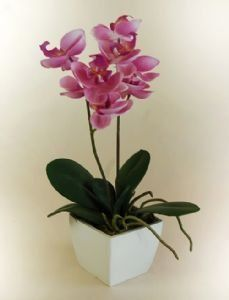 Artificial Silk Mini Pink Orchid in a Pot: Amazon.co.uk: Kitchen & Home