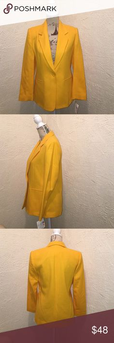 🆕 Joan Leslie Mustard Yellow Blazer Size 4 P Joan Leslie Mustard Yellow Blazer- NWT- ✨😊✨One Button closure~Fully Lined~ 80% Wool 20% Nylon Dry Clean Only Joan Leslie Jackets & Coats Blazers