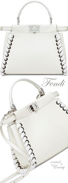 ♦Fendi 'Fashion Show Mini Peekaboo' white leather handbag with weave