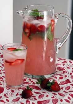 Pitcher and Glass of Strawberry Basil Lemonade