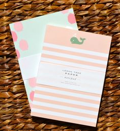notepad set // ikat + whale. cute idea for girl baby shower invites
