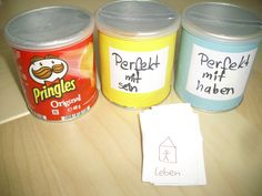 I use these boxes made of pringles cans to practice grammar with my German…