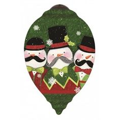 "Ne'Qwa ""Snow-staches"" Hand-Painted Blown Glass Christmas Ornament #7151157 This beautiful, hand-made glass ornament depicts three snowmen with bow ties, hats and magnificent mustaches. Also features the artist's signature and an antiqued gold topper and green tassel  Artist - Susan Winget"