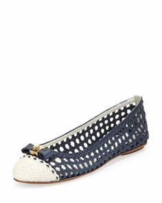 X21G3 Tory Burch Carlyle Woven Leather Ballerina Flat, Newport Navy/Ivory